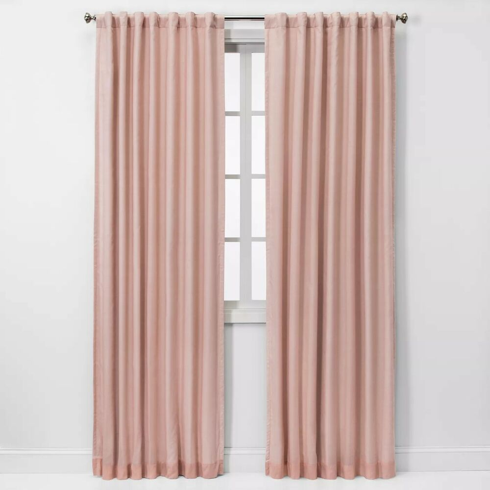 Threshold 99 9 Blackout Curtain 50 In X 84 In Blush Pink Voile Overlay Nwop Threshold Panel Curtains Pink Blackout Curtains Curtains