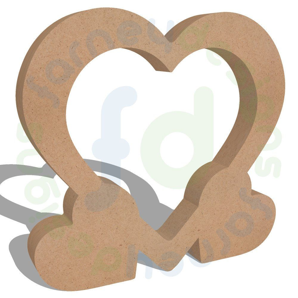 Free Standing Heart Frame Supported by Two Small Hearts | Plaques ...
