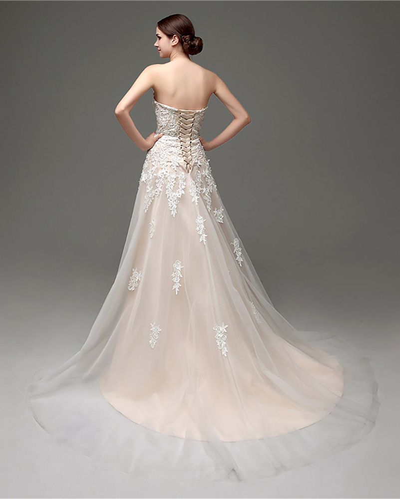 Inexpensive strapless lace wedding dress with tulle train h
