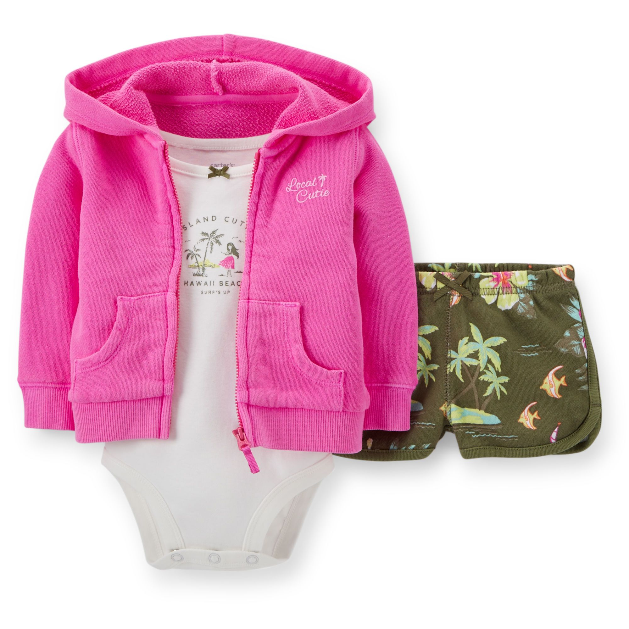 Baby Girl 3-Piece French Terry Neon Cardigan Set   Carters.com