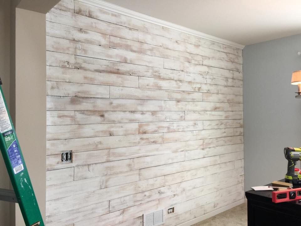 Dinning Room Wall Did Using Cedar Wood Fence Board. Then White Washed With  Regular Eggshell