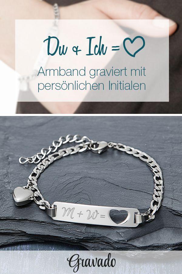 Armband mit Gravur Initialen - Herz - Silber - personalisiert ...