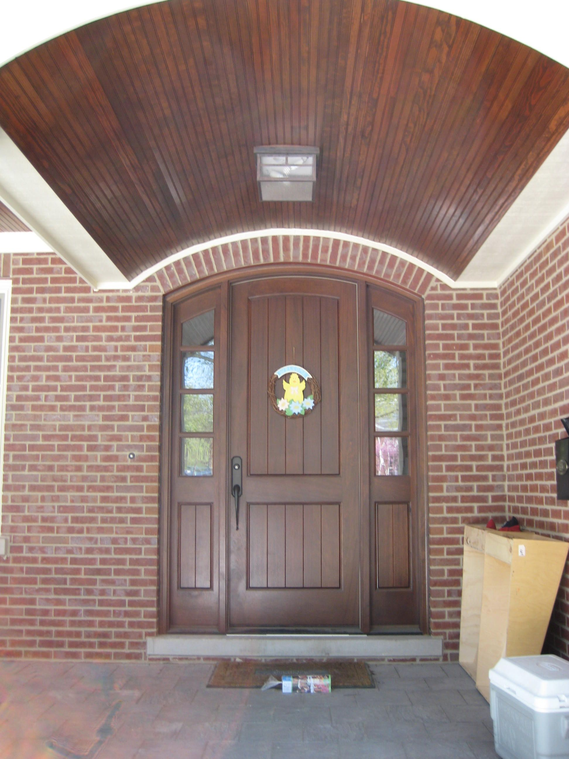 Fiberglass doors Therma tru Match stains notice wood above