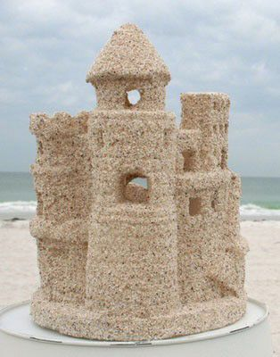 Sandcastle Candleholder. Bring home the fond memories of building sandcastles on the beach. Replica sand castle is created and given a natural sand finish. Glass insert and tealight candle included.