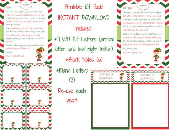 INSTANT DOWNLOAD - Christmas Elf Letters Notes Printable Pack - 4 - goodbye letter