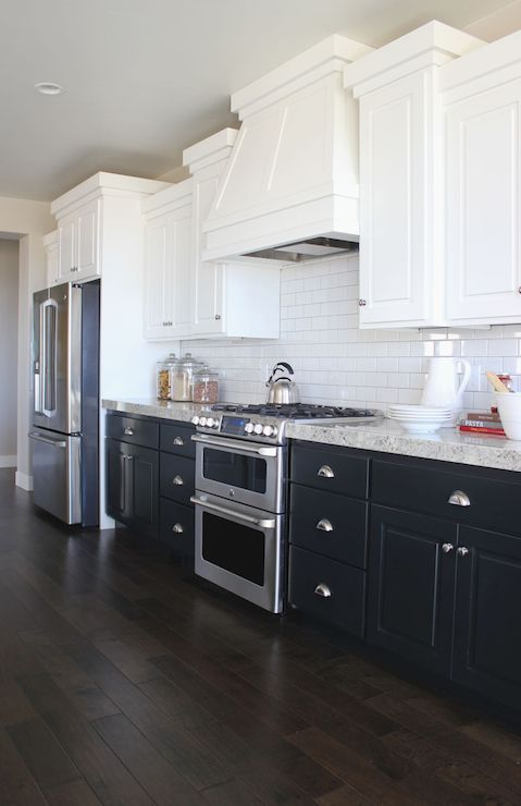 kitchen cabinets dark bottom white top the white up top to brighten and the bottom 20250