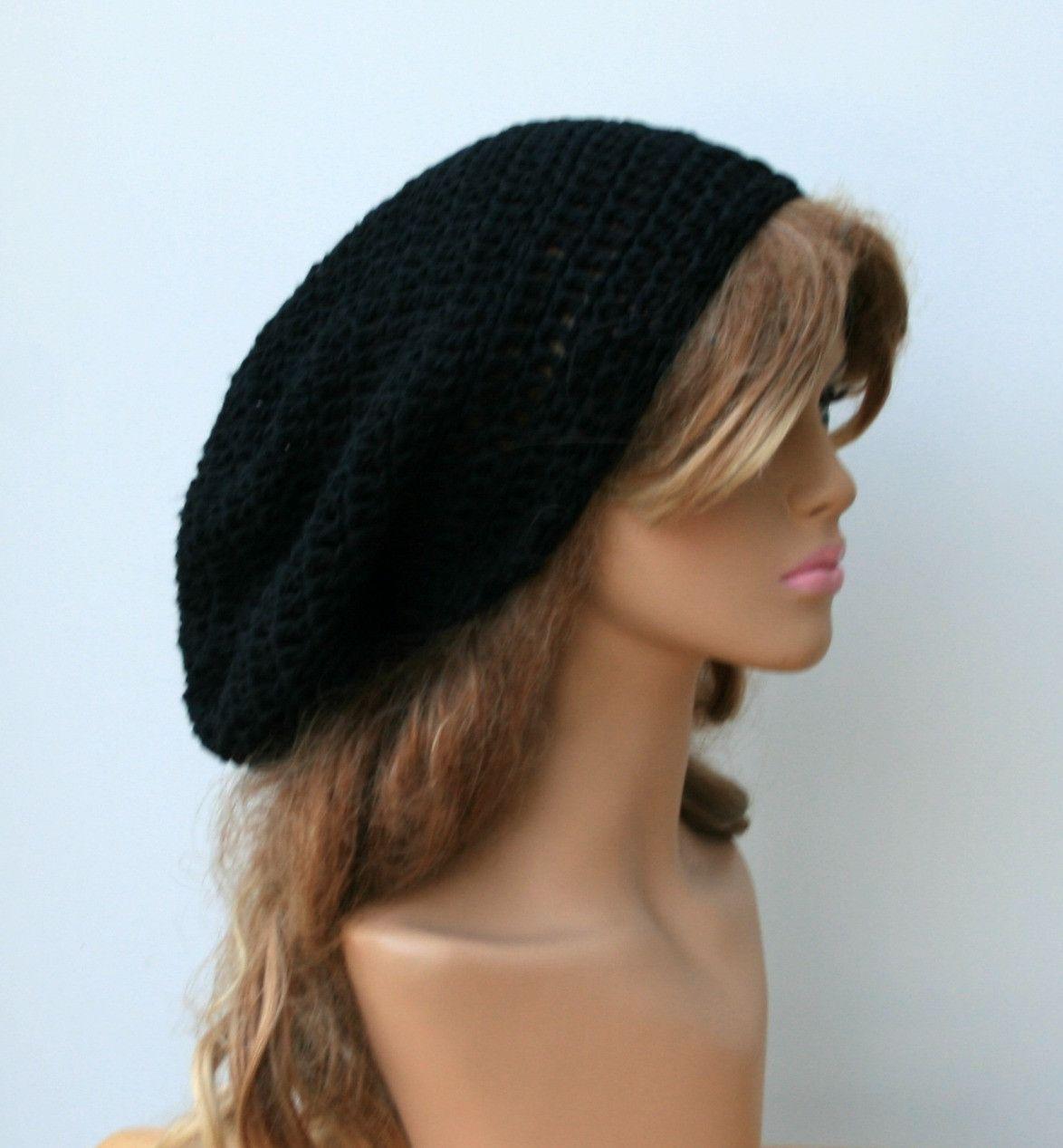 Slouchy Beanie cotton black Tam Dreadlocks hat, Hippie Beanie Hat ...