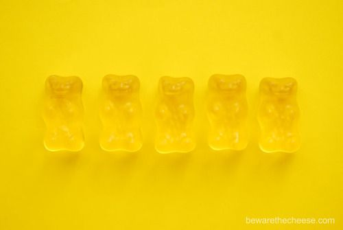 New on bewarethecheese.com, a series of gummy bear photos available as posters and greeting cards.  http://www.bewarethecheese.com/oline%20store.htm