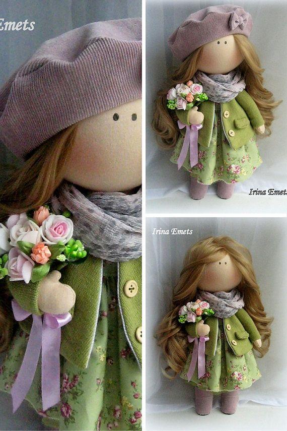 Tilda Doll Handmade Doll Fabric Doll Green Doll Nursery Doll ...