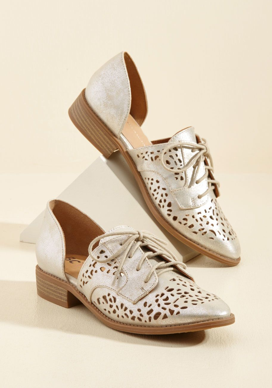 <p>Slip your feet into these metallic champagne flats by BC Footwear, and your strut will ascend to its very best! Livening up their derby shape with an unconventional d'Orsay silhouette punctuated with perforations, these vegan faux-leather kicks won't just make your outfit - they'll make your entire day!</p>