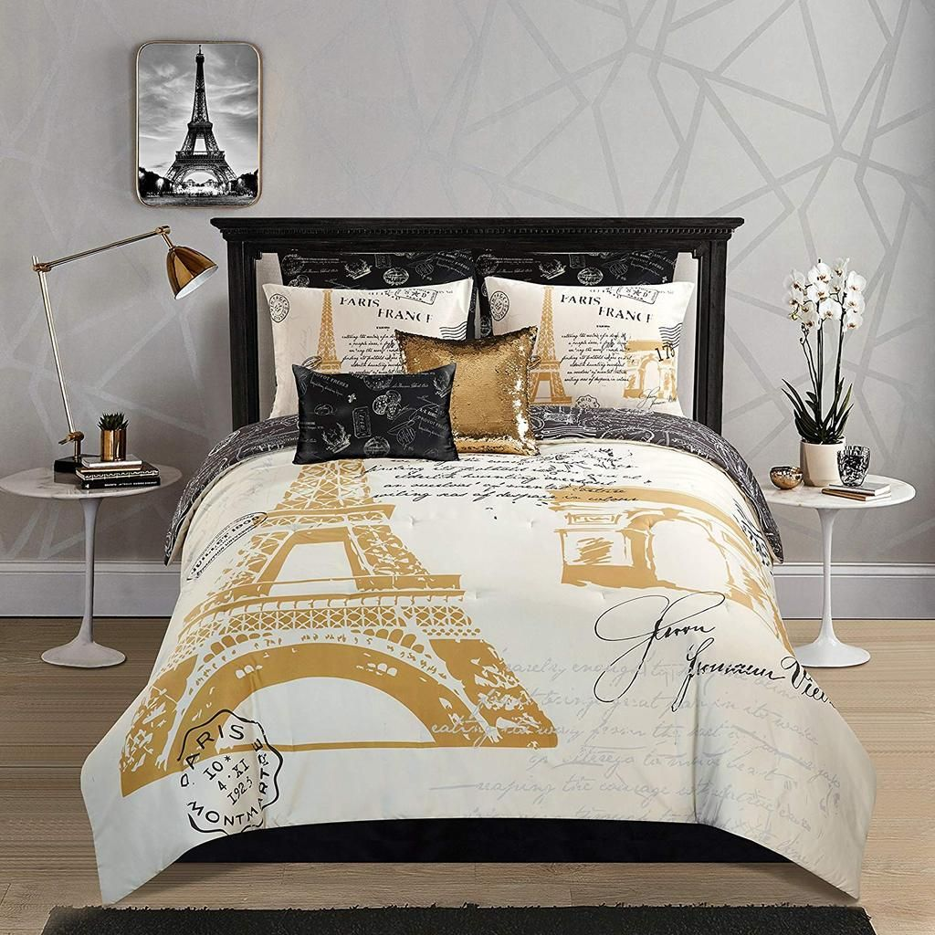 Casa Paris Gold 8 Piece Comforter Set Queen Paris Decor Bedroom Comforter Sets Paris Themed Bedroom