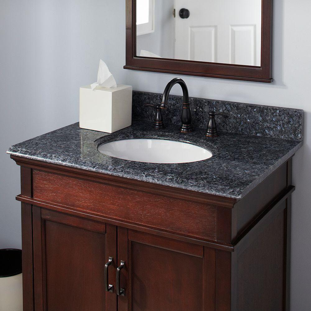Pegasus 37 In Granite Vanity Top In Blue Pearl With White Basin 37905 The Home Depot Granite Vanity Tops Vanity Top Vanity