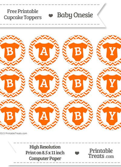 Free Safety Orange  Chevron Baby Onesie Cupcake Toppers