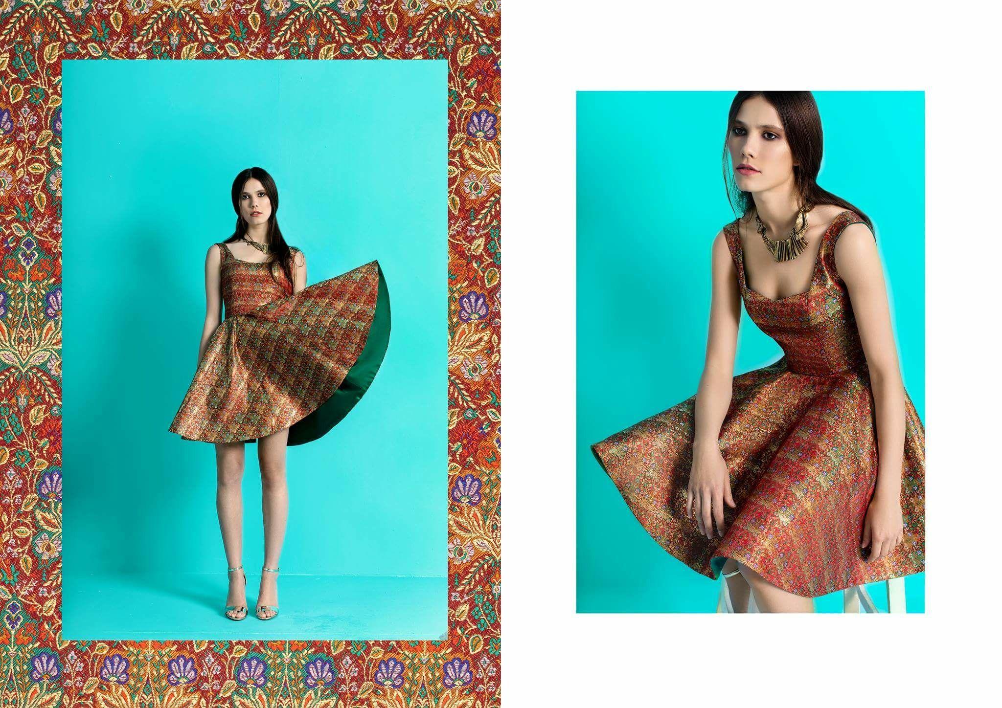 Brocade orange dress designed by zeina hosny. Egyptian fashion ...