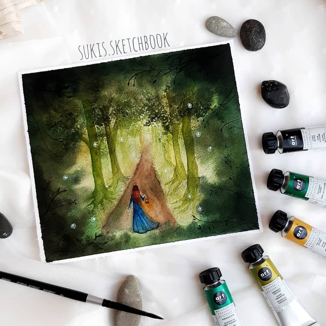Walk To The Light Watercolor Painting Of A Girl In The Forest Painting Art Projects Watercolor Paintings Painting