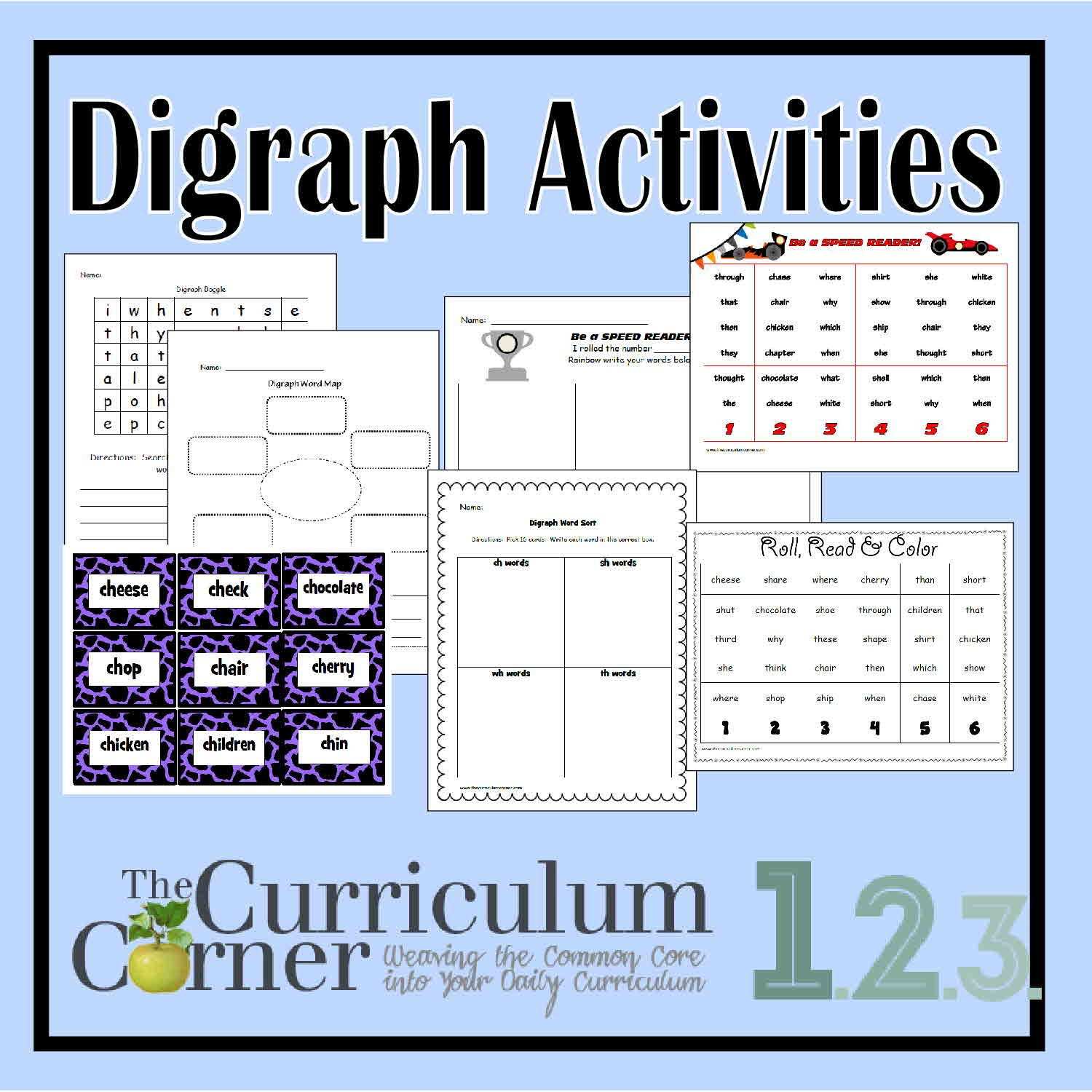 Worksheets Digraph Worksheets consonant digraph activities curriculum and word work activities