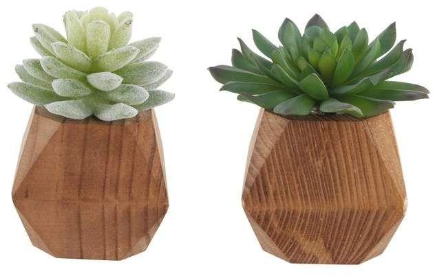 Wrought Studio 2 Piece Succulent Plant Set In Pot Planting Succulents Faux Succulents Artificial Succulents