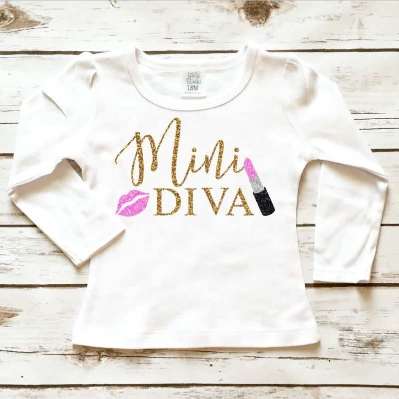 Little Girl's Clothes - Mini Diva Toddler Sparkle Shirt in Sparkly Gold Glitter and Pink Glitter. Browse our entire selection at www.shopcassidyscloset.com