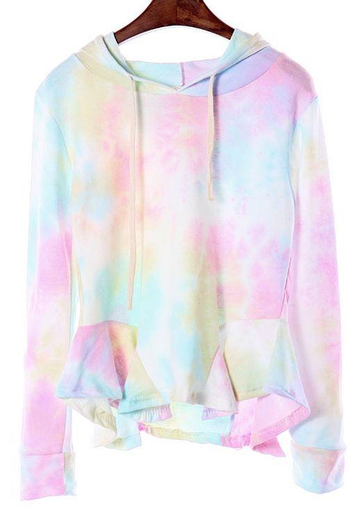 Blue Gradient Long Sleeve Hooded Ruffle Sweatshirt US$22.29