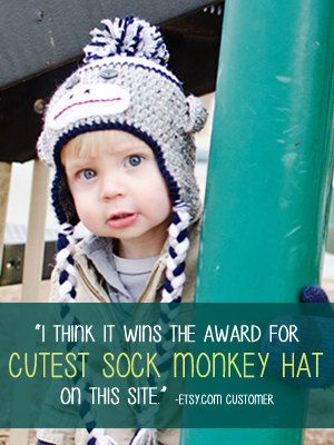 Crochet Sock Monkey Hat From Littlemonkeyscrochetsy Click To