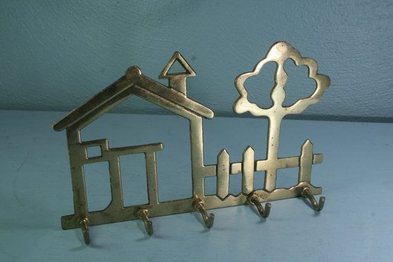 Brass House & Tree Key Hook  Free Shipping by andantiques on Etsy, $16.00