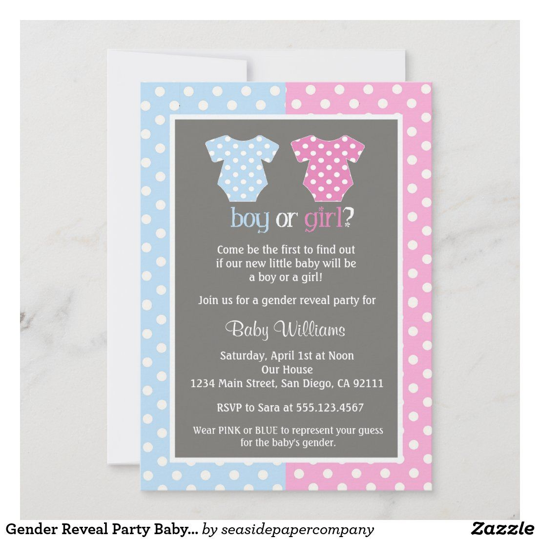 Gender Reveal Party Baby Shower Invitations Zazzle Com In 2021 Gender Reveal Party Gender Neutral Baby Shower Invitations Gender Reveal Invitations