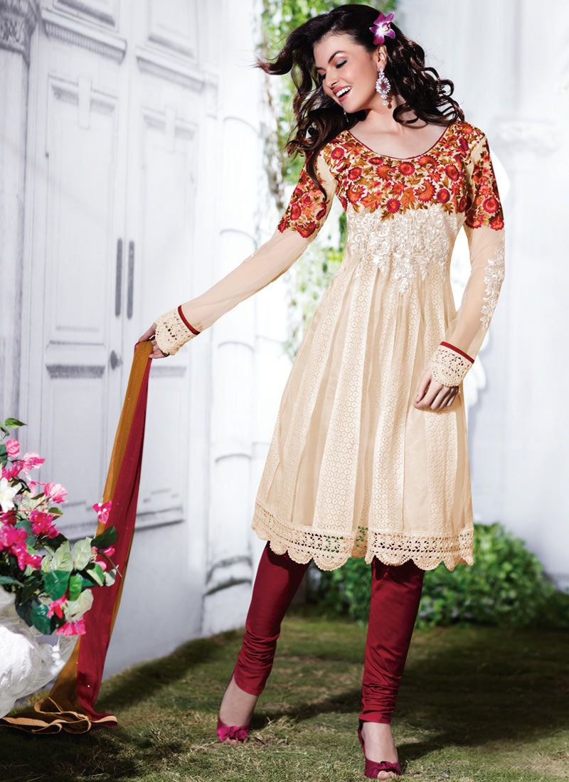 a0abec4c2d253 Fancy Brick Red   Ivory Salwar Kameez