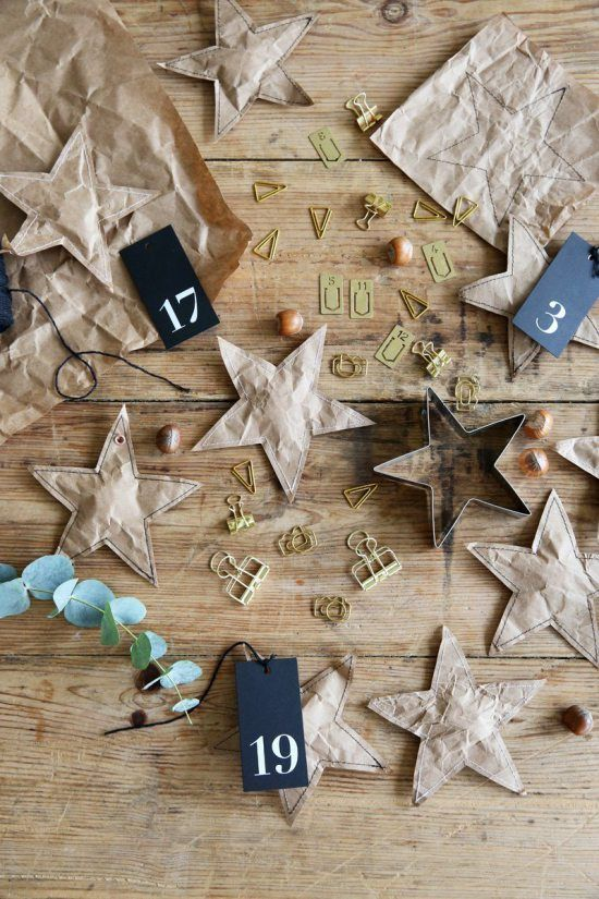 Advent Calendar Ideas - Brown Paper Stars DIY / handmade
