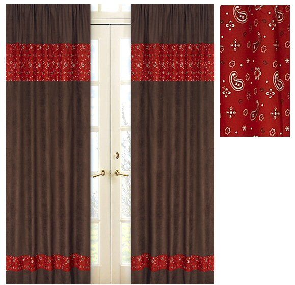 Red Window Curtain Panels Sale: Western Theme Window Curtains