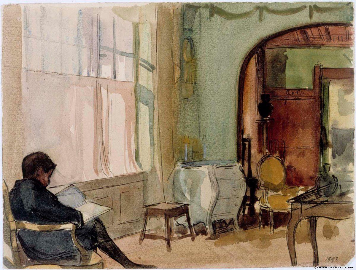 Interiööri taiteilijan huvilalta Kilosta, Erik lukemassa tuolissa, 1898