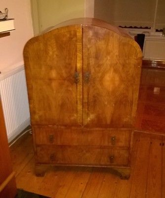 #Vintage #antique walnut wood #veneer drinks tv cabinet ,  View more on the LINK: http://www.zeppy.io/product/gb/2/172125358725/