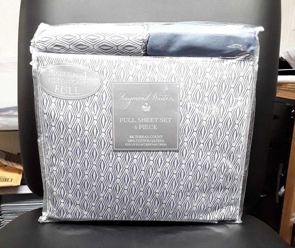 Raymond Waites Full Sheet Set 6 Piece 300 TC 100% Cotton Sateen Alber Blue #