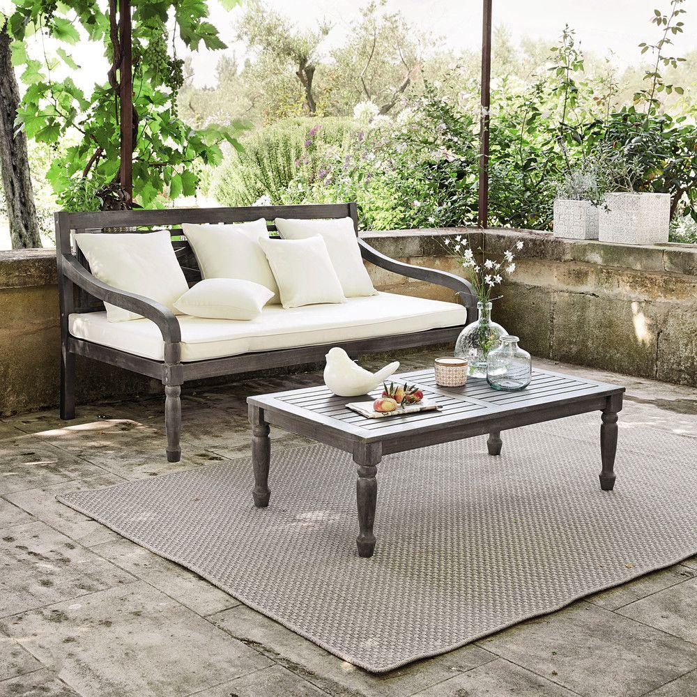 3 Seater Acacia Garden Bench Seat In Grey Chypre Maisons Du Monde Banquette Jardin Banc Jardin Canape Jardin