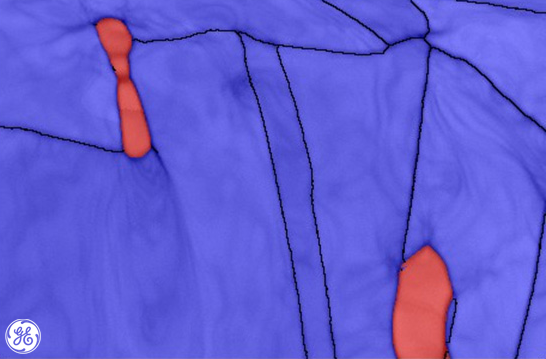 This phase map of delta ferrite particles (red) in a stainless steel matrix (blue) shows crystallographical differences. #computergeneratedart