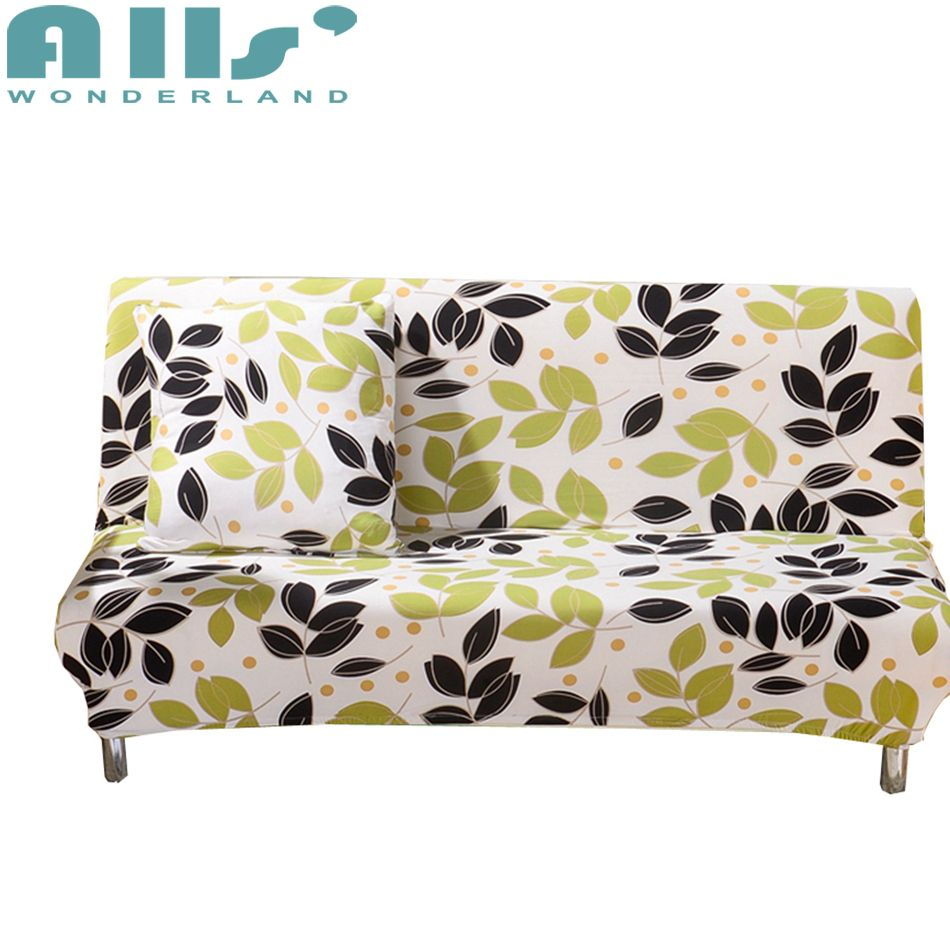 Armless Couch Sofa Bed Covers With Leaves Patterns Elastic Sofa