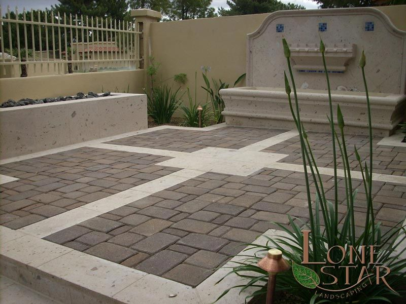 Paver patio with cantera stone accents in Phoenix, AZ. - www.lonestaraz.com - Paver Patio With Cantera Stone Accents In Phoenix, AZ. - Www