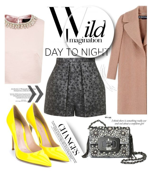 """Day to Night: Holiday Party"" by samanthasade ❤ liked on Polyvore featuring Gianvito Rossi, Ted Baker, Rochas, Marchesa, Topshop, DayToNight, fashionset, holidaystyle and HolidayParty"