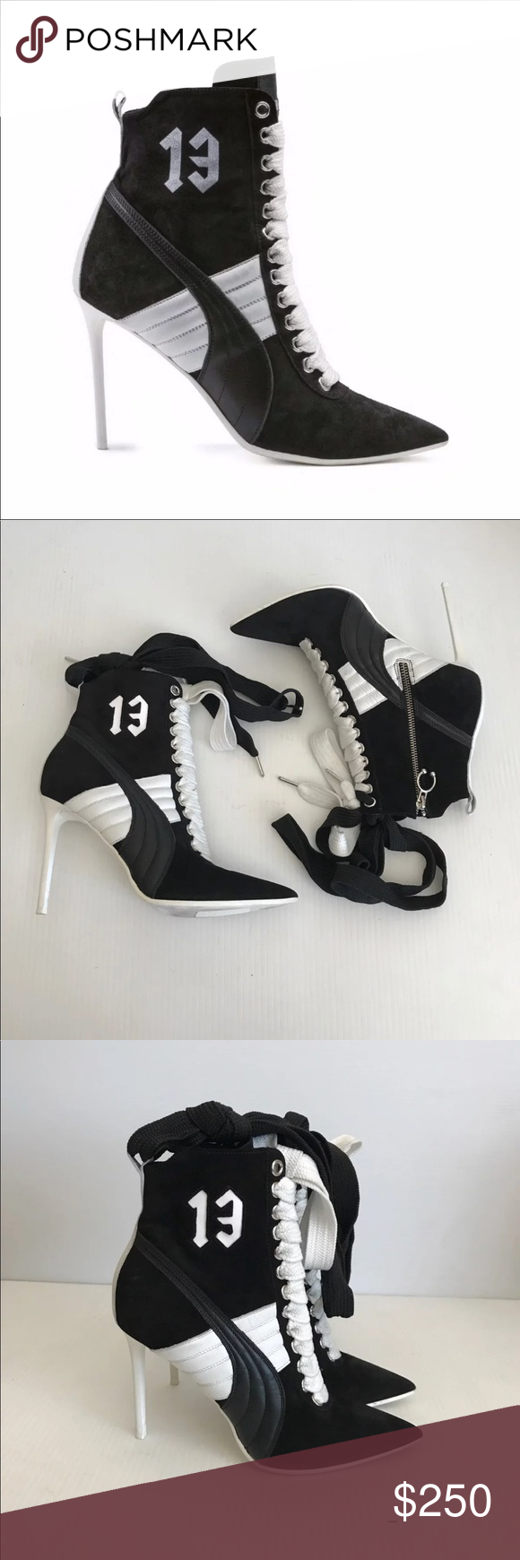 6367bfd33eaaa1 Fenty Puma Rihanna Stiletto Sneaker Boot Pump Fenty PUMA by Rihanna Rihanna  Suede Pointed Toe High Heel Boot Style   363706 01 Blac…