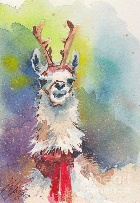 "Holiday painting - ""Whidbey Island Reindeer"" - painting and cards at the Whidbey Art Gallery, and Fine Art America"