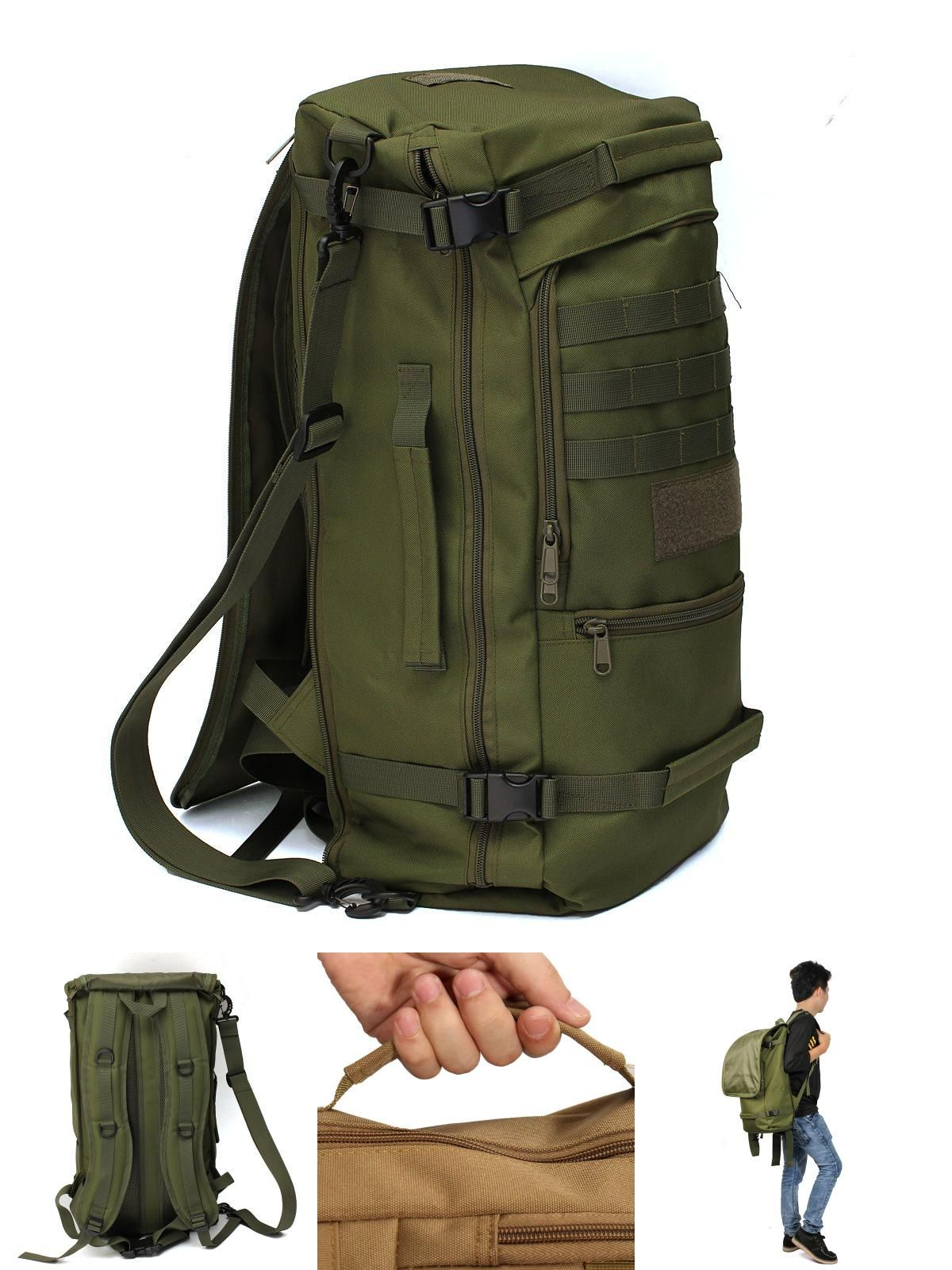 10f0d9ec6a  Visit to Buy  50L Canvas Outdoor sports Military Tactical Rucksack travel  Camping Hiking Backpack