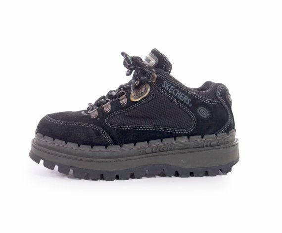 90s Vintage Chunky Platform Black Suede Leather Skechers Low Top ...