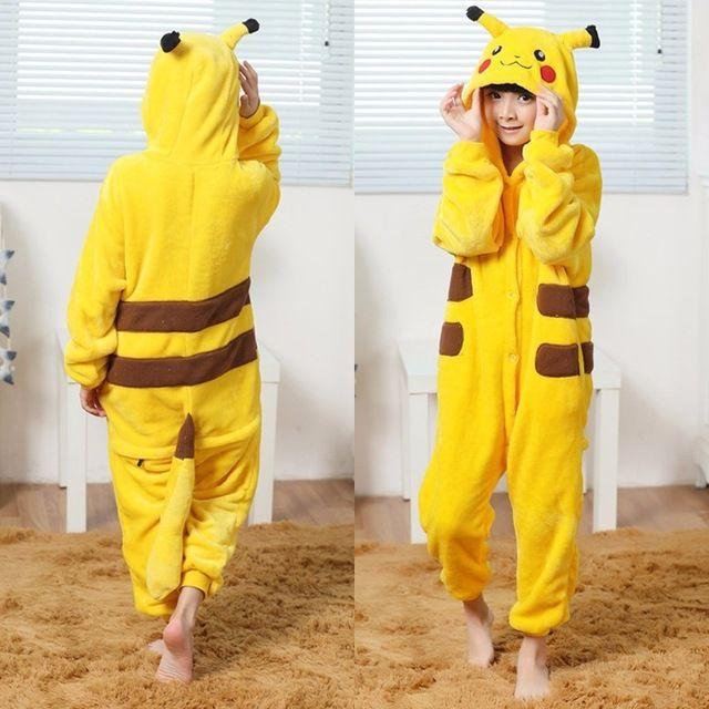 dceb1d526b Niños cosplay trajes ir amarillo pikachu pokemon pikachu pijamas para niñas  niño traje de halloween niños niño chico