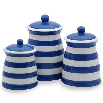 Royal blue white striped ceramic kitchen canister set for Kitchen set royal