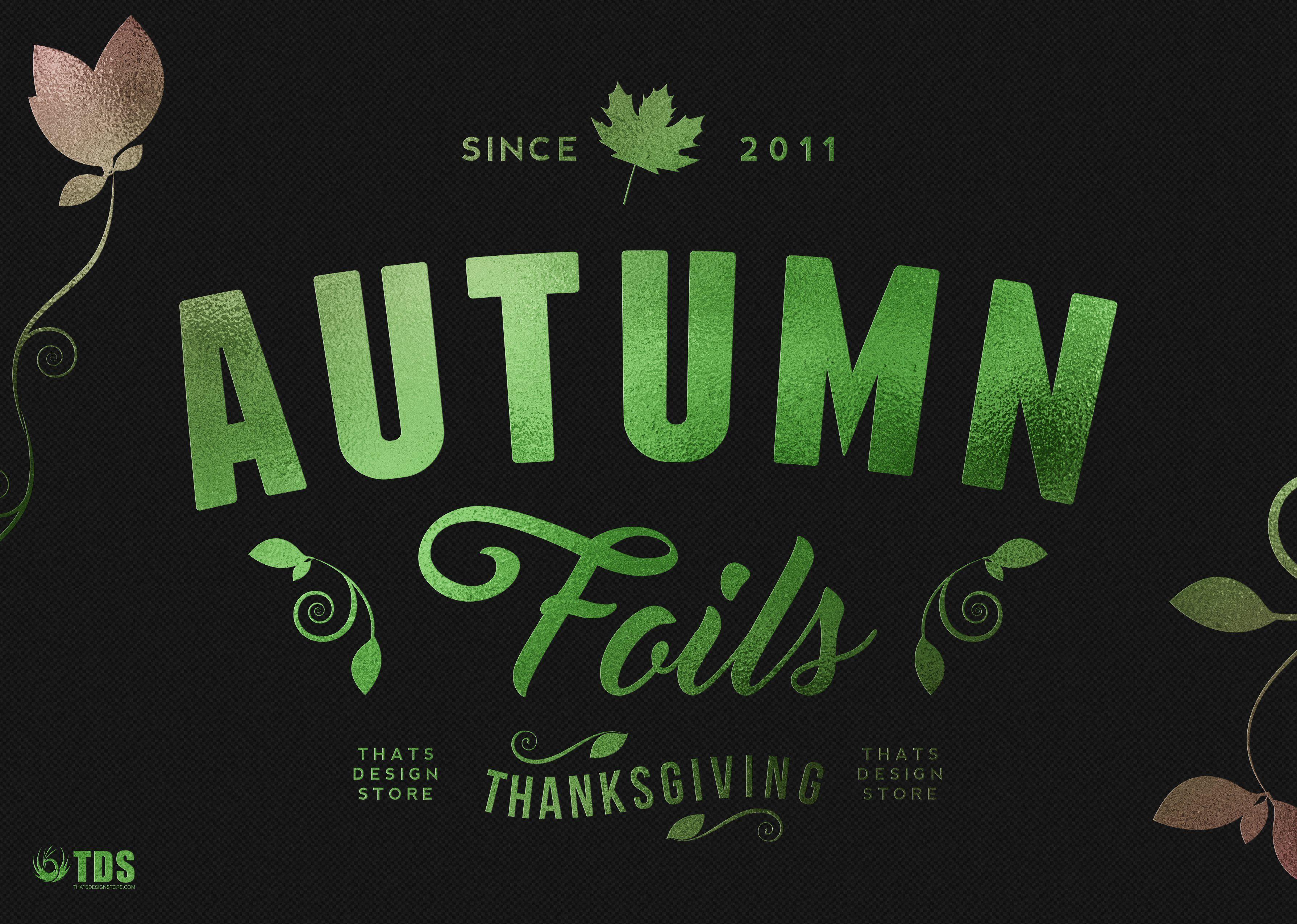 12 Autumn Foil Textures + Smart PSD Aesthetic template
