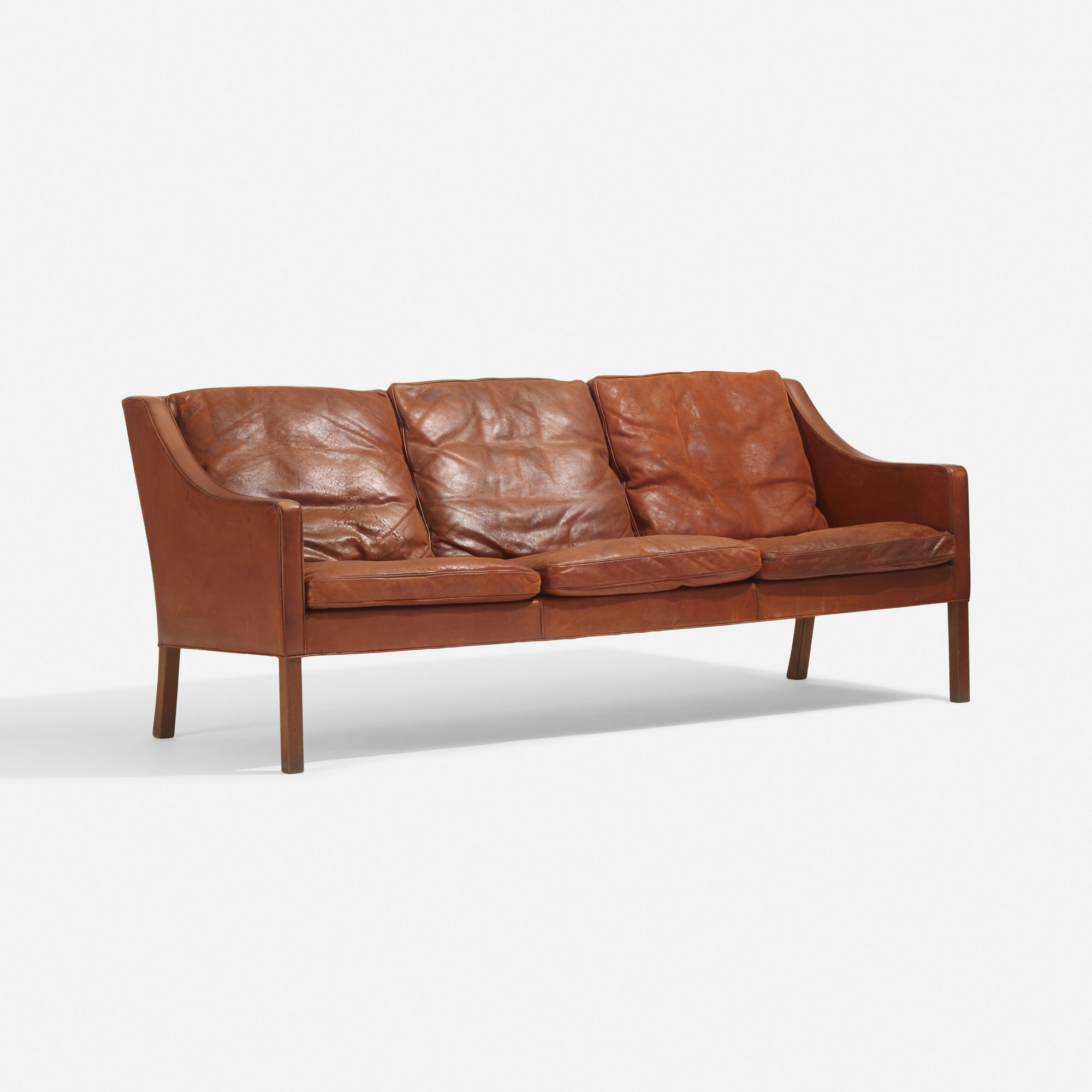 Lot 114 B Rge Mogensen Sofa 1963 Leather Teak 72 W X 32 D X  # Muebles Natalia Esperanza