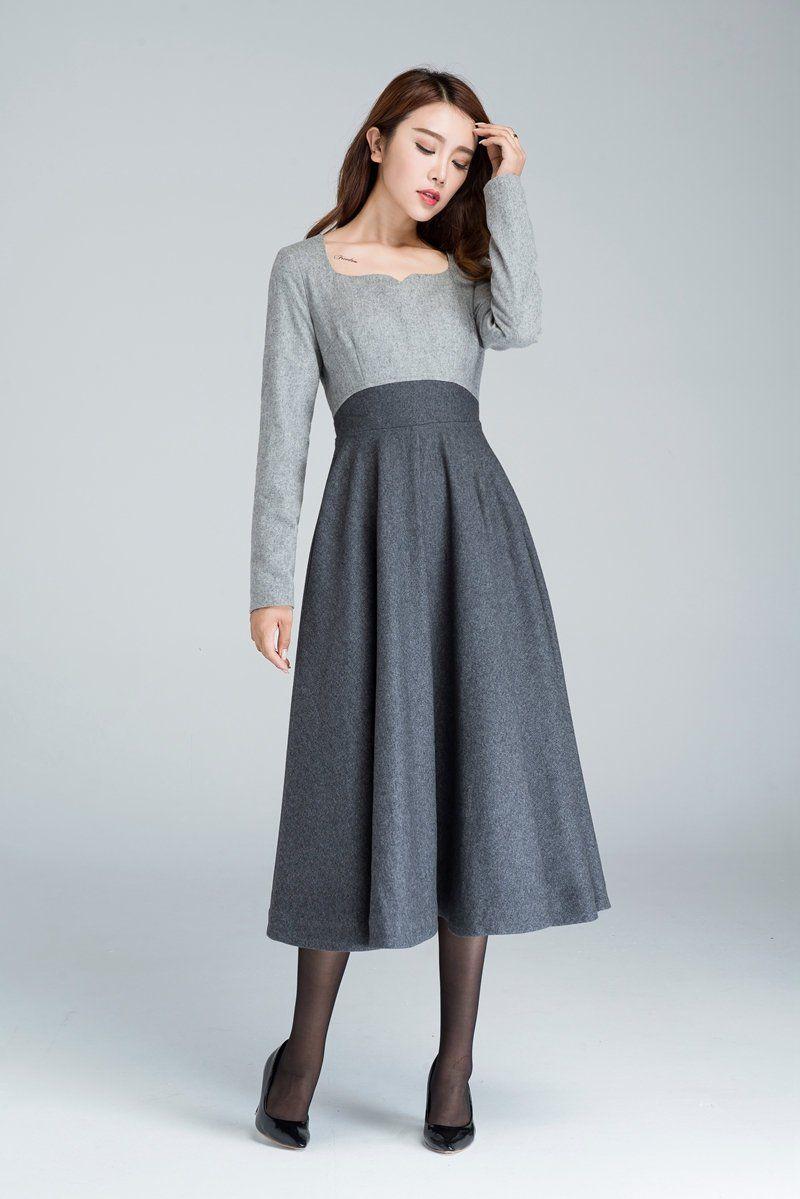 1950er jahre grau fit und flare wolle kleid frauen kleider