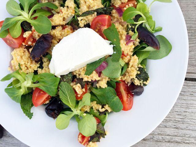 glutenvrije salade met gierst, geitenkaas, munt