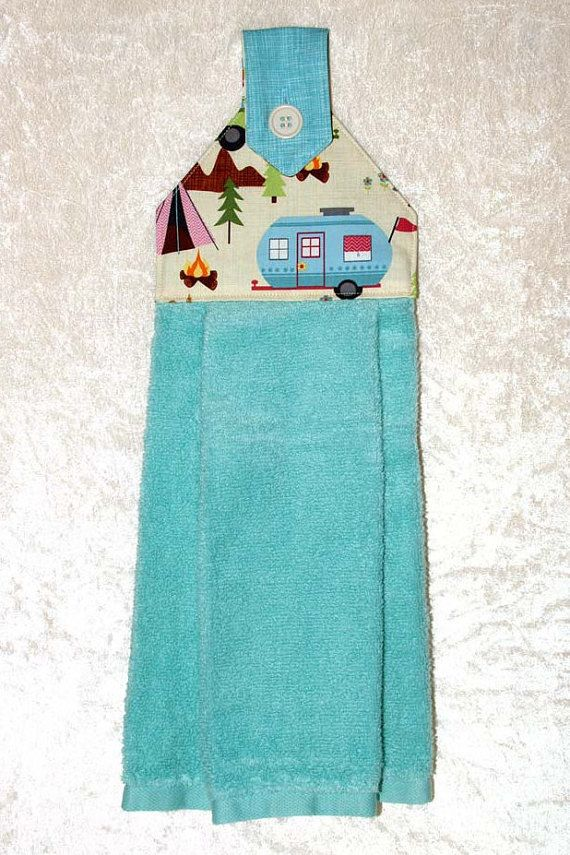 Blue Camping Decor U2022 Hanging Dish Towel U2022 Turquoise Hand Towel U2022 Kitchen  Towel U2022 Vintage Trailer U2022 Retro Camper U2022 RV U2022 Shasta U2022 Airstream