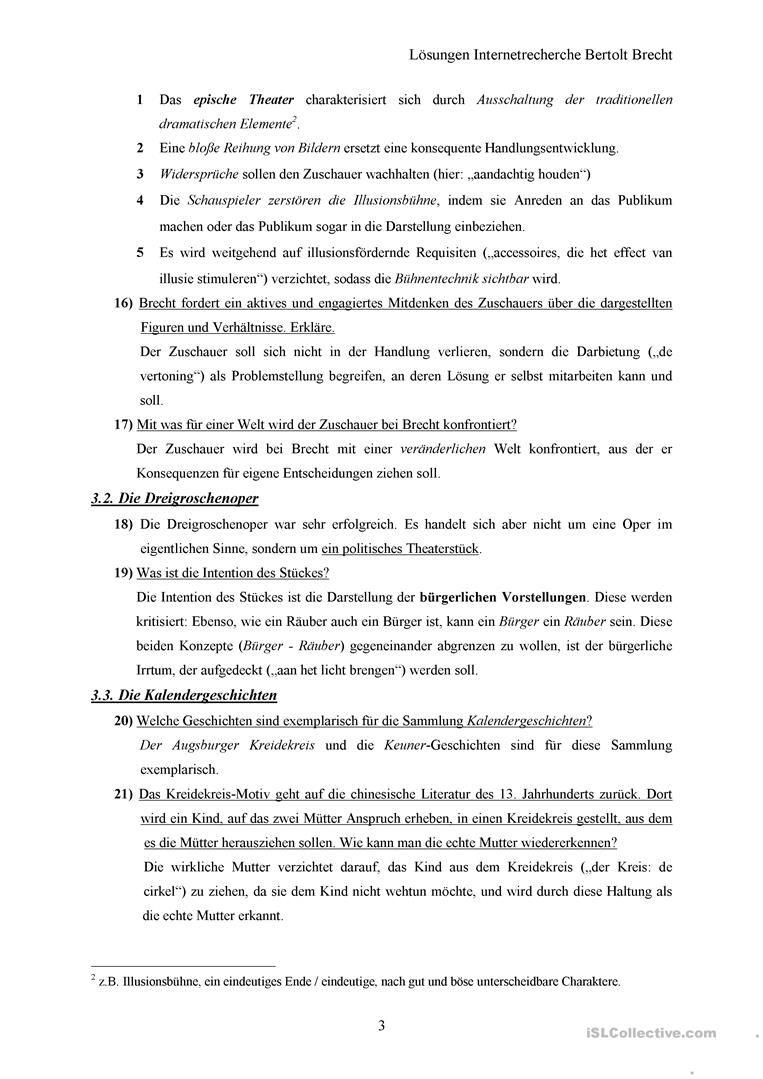 Lösungen Internetrecherche Bertolt Brecht | Arbeitsblätter DaF/DaZ ...