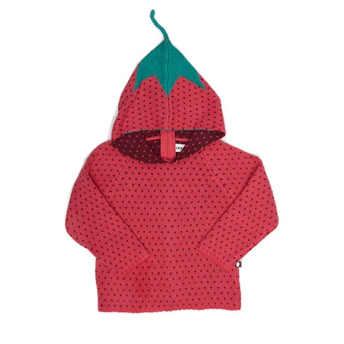 An adorable strawberry pattern makes this cotton hoodie fun and playful.  100% cotton. Made in Peru.